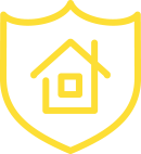 Logo of a yellow house in a shield